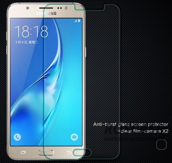 Защитное стекло Nillkin Anti-Explosion Glass (H) для Samsung J710F Galaxy J7 (2016)Описание:компания&amp;nbsp;Nillkin;создано для Samsung J710F Galaxy J7 (2016);материал: закаленное стекло;тип: защитное стекло.&amp;nbsp;Особенности:повторяет форму экрана;тонкое и прозрачное;покрытие анти-блик;твердость - 9H;толщина - &amp;nbsp;0,3 мм;защита от ударов и царапин;олеофобное покрытие;в комплекте пленка на камеру.<br><br>Тип: Защитное стекло<br>Бренд: Nillkin