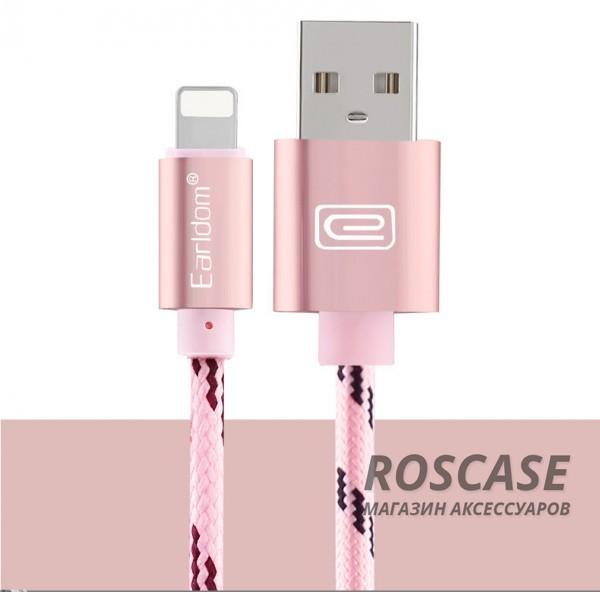 Дата кабель lightning для iPhone 5/5s/SE/6/6 Plus/6s/6s Plus /7/7Plus плетеный Earldom 1m с клипсой (Розовый / Rose Gold)Описание:бренд  -  Earldom;материал  -  TPE, нейлон;подходит для устройств с разъемом lightning;тип  -  кабель для синхронизации и зарядки.&amp;nbsp;Особенности:плетеная оплетка;разъемы: USB, lightning;длина  -  1 метр;прочный;гибкий;ремешок-клипса;быстрая скорость передачи данных.&amp;nbsp;<br><br>Тип: USB кабель/адаптер<br>Бренд: Epik