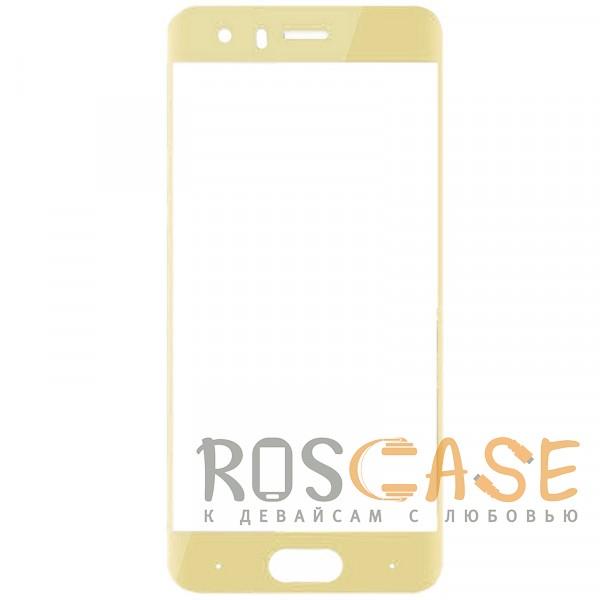 Фото Золотой Защитное стекло с цветной рамкой на весь экран для Huawei Honor 9