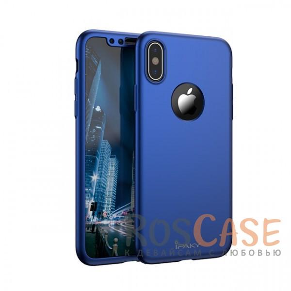 Чехол + закалённое стекло iPaky (original) 360 Full Protection (полная защита корпуса и экрана) для Apple iPhone X (5.8) (+ стекло на экран) (Синий)Описание:производитель - iPaky;совместимость - Apple iPhone X (5.8);материалы - поликарбонат и каленое стекло;форм-фактор - накладка.надежная защита: чехол, бампер, стекло;высокий уровень износостойкости и прочности;ультратонкий дизайн;завышенные бортики вокруг камеры;легко фиксируется;все необходимые вырезы.<br><br>Тип: Чехол<br>Бренд: iPaky<br>Материал: Поликарбонат