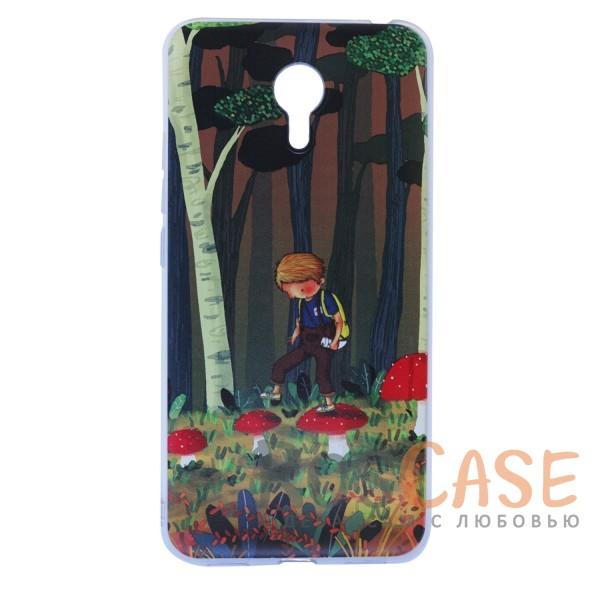 """Фотография Тонкий силиконовый чехол """"Мальчик и Мухоморы"""" с прозрачными краями для Meizu M3 Note"""