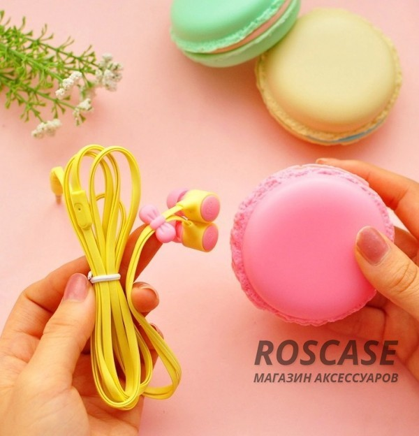 Фото Вакуумные наушники с плоским проводом + футляр Macarons
