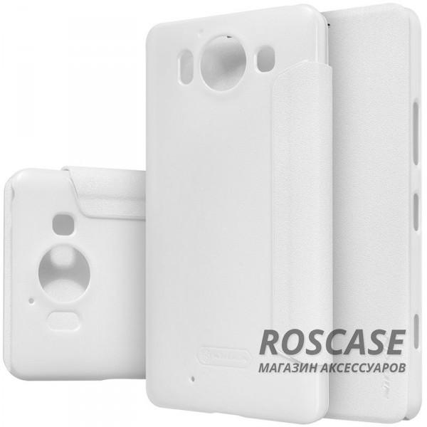 Кожаный чехол (книжка) Nillkin Sparkle Series для Microsoft Lumia 950 (Белый)Описание:производитель аксессуара: компания Nillkin;материалы: передняя часть - искусственная кожа; задняя часть  -  поликарбонат;совместим с моделью Microsoft&amp;nbsp;Lumia 950;конфигурация: чехол в виде книжки.Особенности:шероховатая поверхность, с эффектом перламутра;максимально тонкий корпус;разъемы для функционала мобильного устройства;возможность говорить при закрытом чехле.<br><br>Тип: Чехол<br>Бренд: Nillkin<br>Материал: Искусственная кожа