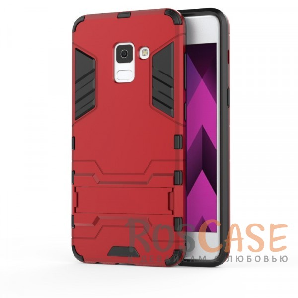 Ударопрочный чехол-подставка Transformer для Samsung A730 Galaxy A8+ (2018) с мощной защитой корпуса (Красный / Dante Red)Описание:совместимость - Samsung A730 Galaxy A8+ (2018);материалы - термополиуретан, поликарбонат;тип - накладка;функция подставки;защита от ударов, сколов, трещин;не скользит в руках;прочная конструкция;все необходимые функциональные вырезы.<br><br>Тип: Чехол<br>Бренд: Epik<br>Материал: Пластик