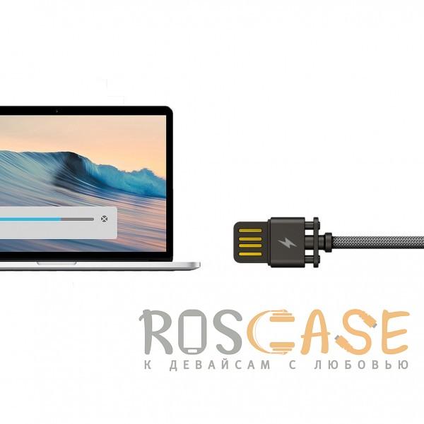 Фотография Черный Remax Dominator RC-064i | Дата кабель с функцией быстрой зарядки в тканевой оплетке USB to Lightning (100см)
