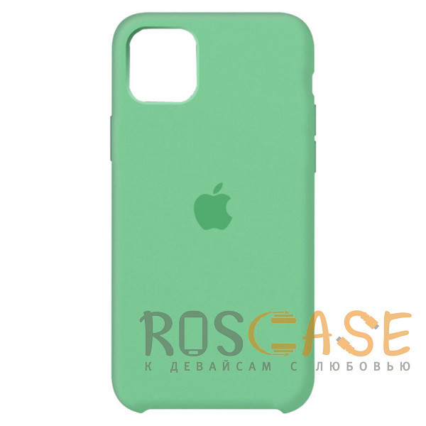 Фото Мятный Силиконовый чехол Silicone Case с микрофиброй для iPhone 11 Pro