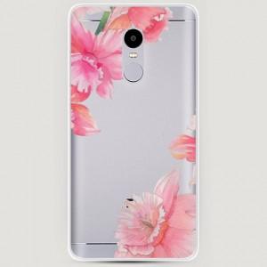 RosCase | Силиконовый чехол Розовые цветочные уголки на Xiaomi Redmi Note 4X / Note 4 (Snapdragon)