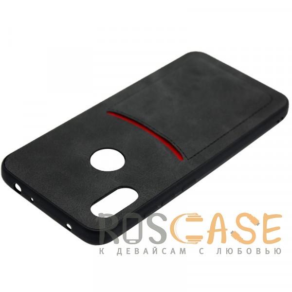 Фотография Черный ILEVEL | Чехол с кожаным покрытием и с карманом-визитницей для Xiaomi Redmi Note 6 Pro