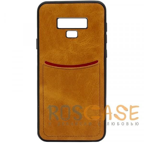 Фото Светло-коричневый ILEVEL | Чехол с кожаным покрытием и с карманом-визитницей для Samsung Galaxy Note 9