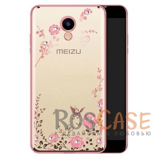 Фото Розовый золотой/Розовые цветы Прозрачный чехол со стразами для Meizu M5 с глянцевым бампером