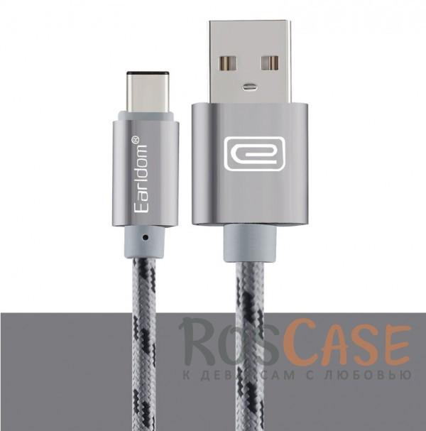 Дата кабель Type-C плетеный Earldom (1m) с клипсой (Серый)Описание:бренд  -  Earldom;материал  -  TPE, нейлон;совместим с устройствами с разъемом Type-C;тип  -  кабель для синхронизации и зарядки.&amp;nbsp;Особенности:плетеная оплетка;разъемы: USB, Type-C;длина  -  1 метр;прочный;гибкий;ремешок-клипса;быстрая скорость передачи данных.&amp;nbsp;<br><br>Тип: USB кабель/адаптер<br>Бренд: Epik