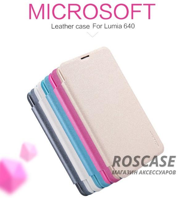Кожаный чехол (книжка) Nillkin Sparkle Series для Microsoft Lumia 640Описание:бренд&amp;nbsp;Nillkin;изготовлен специально для Microsoft Lumia 640;материал: искусственная кожа, поликарбонат;тип: чехол-книжка.Особенности:не скользит в руках;защита от механических повреждений;не выгорает;блестящая поверхность;надежная фиксация.<br><br>Тип: Чехол<br>Бренд: Nillkin<br>Материал: Искусственная кожа