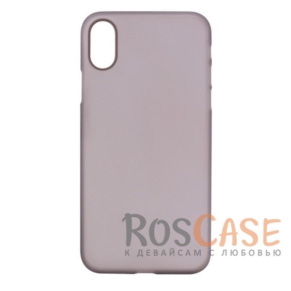 Ультратонкий матовый чехол-накладка для Apple iPhone X (5.8) (Черный / Transparent black)Описание:производитель -&amp;nbsp;Rock;совместимость - Apple iPhone X (5.8);материал - гибкий пластик;тонкий дизайн - 0,45 мм;матовая поверхность;защитные бортики вокруг камеры;формат - накладка;защита от царапин, потертостей и сколов;на чехле не заметны отпечатки пальцев;не скользит в руках;предусмотрены все функциональные вырезы.<br><br>Тип: Чехол<br>Бренд: ROCK<br>Материал: Пластик