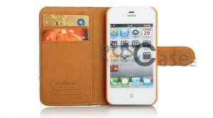 Кожаный чехол Nuoku Legend (книжка) для Apple iPhone 4/4S (+пленка)