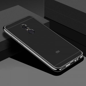 Прозрачный силиконовый чехол для Xiaomi Redmi 5 Plus / Redmi Note 5 (Single Camera) / Redmi Note 5 (SC) с глянцевой окантовкой