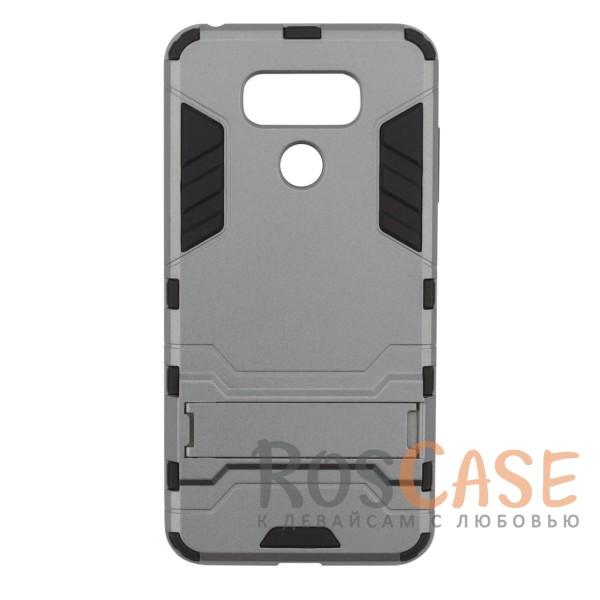Ударопрочный чехол-подставка Transformer для LG G6 / G6 Plus H870 / H870DS с мощной защитой корпуса (Металл / Gun Metal)