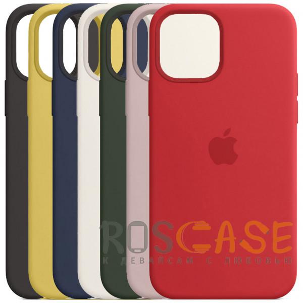Фото Силиконовый чехол Silicone Case с микрофиброй для iPhone 12 Pro Max