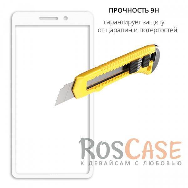 Фотография Белый Защитное стекло с цветной рамкой на весь экран для Xiaomi Redmi 4a