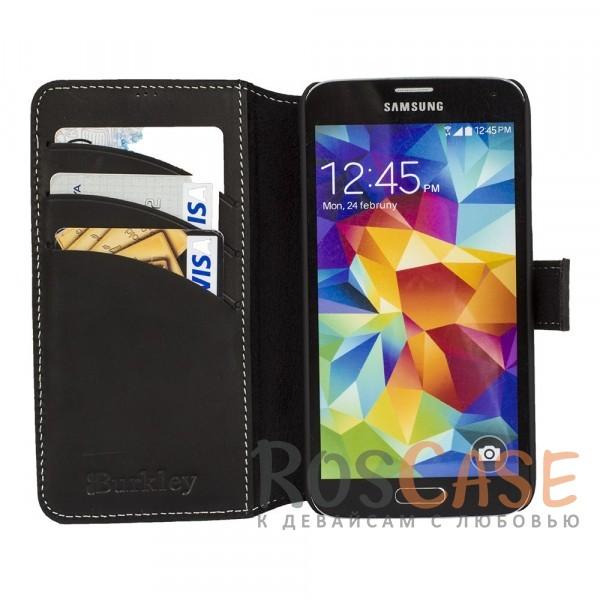 Фото Прошитый чехол-книжка из натуральной кожи с отсеками для пластиковых карт и магнитной застежкой для Samsung G925F Galaxy S6 Edge