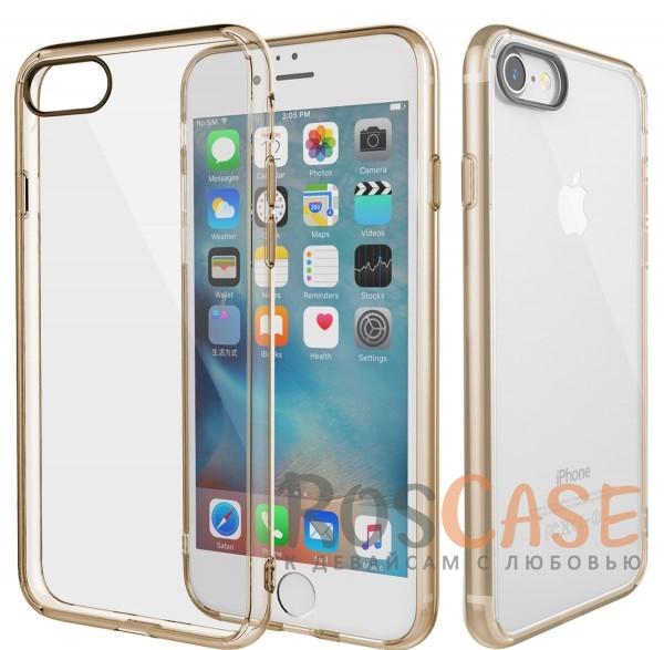 TPU+PC чехол Rock Pure Series для Apple iPhone 7 (4.7) (Золотой / Transparent Gold)Описание:изготовлен компанией&amp;nbsp;Rock;совместим с Apple iPhone 7 (4.7);материалы  -  термополиуретан, поликарбонат;тип  -  накладка.&amp;nbsp;Особенности:ультратонкий;в наличии все функциональные вырезы;прозрачная;черная окантовка вокруг камеры для отсутствия блика от вспышки;не скользит в руках;рамка из поликарбоната;защита от царапин и ударов.<br><br>Тип: Чехол<br>Бренд: ROCK<br>Материал: TPU