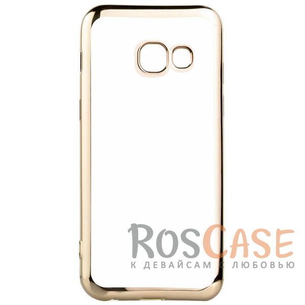 Прозрачный силиконовый чехол для Samsung A720 Galaxy A7 (2017) с глянцевой окантовкой (Золотой)Описание:совместим с Samsung A720 Galaxy A7 (2017);глянцевая окантовка;материал - TPU;тип - накладка.<br><br>Тип: Чехол<br>Бренд: Epik<br>Материал: TPU