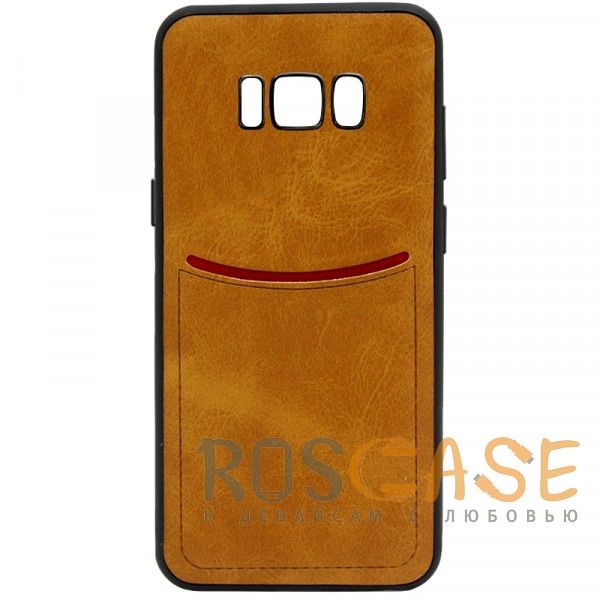 Фото Светло-коричневый ILEVEL | Чехол с кожаным покрытием и с карманом-визитницей для Samsung G950 Galaxy S8