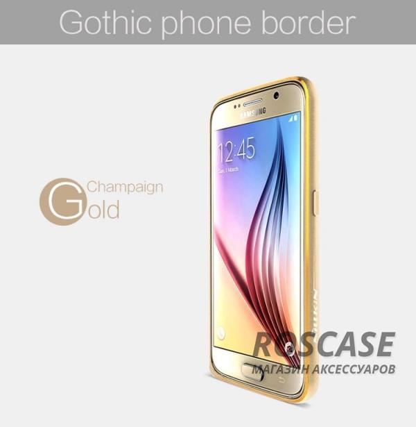 Металлический бампер Nillkin Gothic Series для Samsung Galaxy S6 G920F/G920D Duos (Золотой)Описание:производитель  -  бренд&amp;nbsp;Nillkin;совместимость: Samsung Galaxy S6 G920F/G920D Duos;материал  -  металл;форма  -  бампер.&amp;nbsp;Особенности:легкий и прочный;имеет все функциональные вырезы;обладает хорошей амортизацией;не увеличивает габариты;стильныйгладкий.<br><br>Тип: Чехол<br>Бренд: Nillkin<br>Материал: Металл