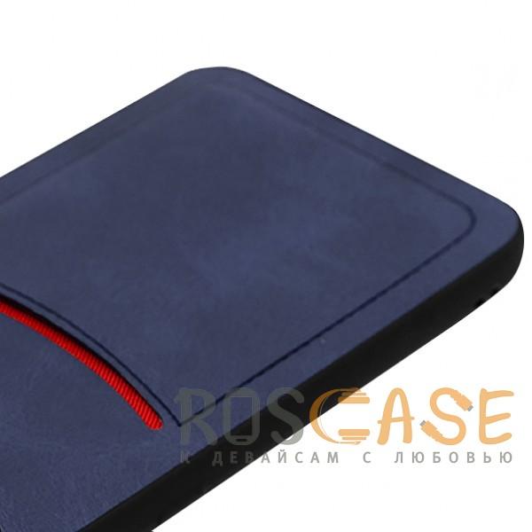 Фотография Синий ILEVEL | Чехол с кожаным покрытием и с карманом-визитницей для Huawei P20