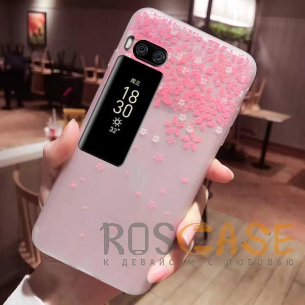 Фото Цветы Розовый Силиконовый матовый чехол с принтом для Meizu Pro 7