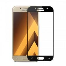 """Защитное стекло с цветной рамкой на весь экран с олеофобным покрытием """"анти-отпечатки""""  для Samsung Galaxy A3 2017 (A320F)"""