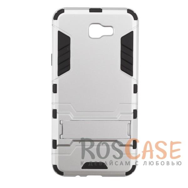 Ударопрочный чехол-подставка Transformer для Samsung G570F Galaxy J5 Prime с мощной защитой корпуса (Серебряный / Satin Silver)