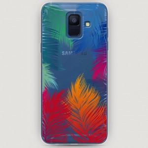 RosCase | Силиконовый чехол Рамка из перьев на Samsung Galaxy A6 (2018)