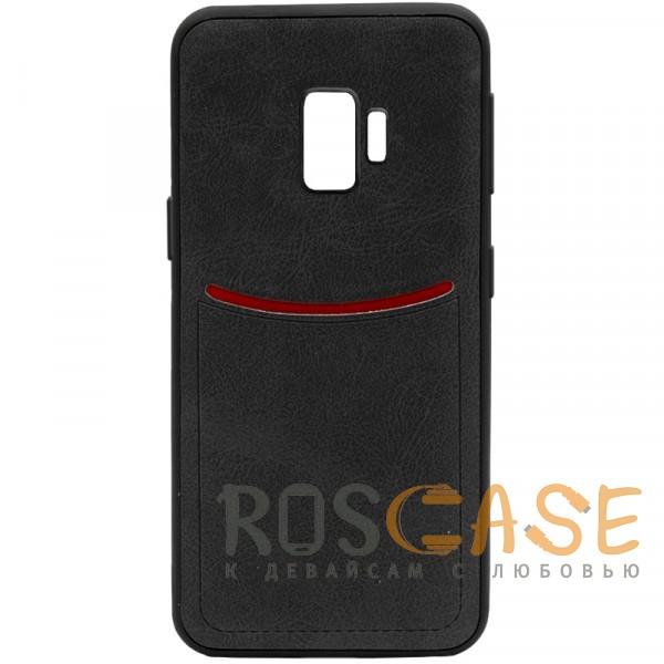 Фото Черный ILEVEL | Чехол с кожаным покрытием и с карманом-визитницей для Samsung Galaxy S9