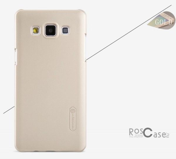 Чехол Nillkin Matte для Samsung A500H / A500F Galaxy A5 (+ пленка)  (Золотой)Описание:Чехол изготовлен компанией&amp;nbsp;Nillkin;Спроектирован для Samsung A500H / A500F Galaxy A5;Материал  -  пластик;Форма  -  накладка.Особенности:Полностью защищен от появления потертостей;В комплект входит глянцевая пленка;Имеет ребристое матовое покрытие и антикислотное напыление;Тонкий дизайн.<br><br>Тип: Чехол<br>Бренд: Nillkin<br>Материал: Поликарбонат