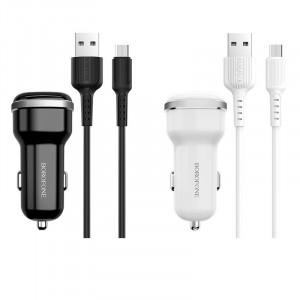 Borofone BZ13 | Автомобильная зарядка для телефона 2USB / 2.4A + кабель micro USB 1m для Meizu MX5