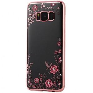 Прозрачный чехол со стразами для Samsung G955 Galaxy S8 Plus с глянцевым бампером