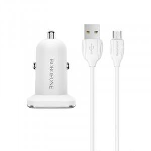 Автомобильная быстрая зарядка Borofone BZ12A QC3.0 + кабель micro USB 1m для Meizu MX5
