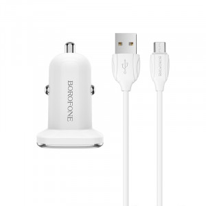 Автомобильная быстрая зарядка Borofone BZ12A QC3.0 + кабель micro USB 1m