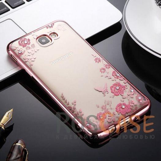 Прозрачный чехол с цветами и стразами для Samsung G610F Galaxy J7 Prime (2016) с глянцевым бампером (Розовый золотой/Розовые цветы)Описание:совместим с Samsung G610F Galaxy J7 Prime (2016);глянцевая окантовка, цветочный узор;материал - TPU;тип - накладка.<br><br>Тип: Чехол<br>Бренд: Epik<br>Материал: TPU
