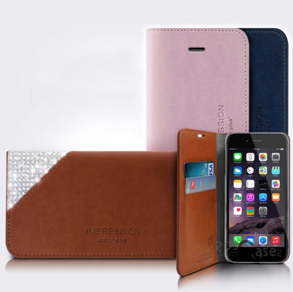 "фото кожаный чехол (книжка) со стразами Dreamplus Slip-on Series для Apple iPhone 6/6s (4.7"")"