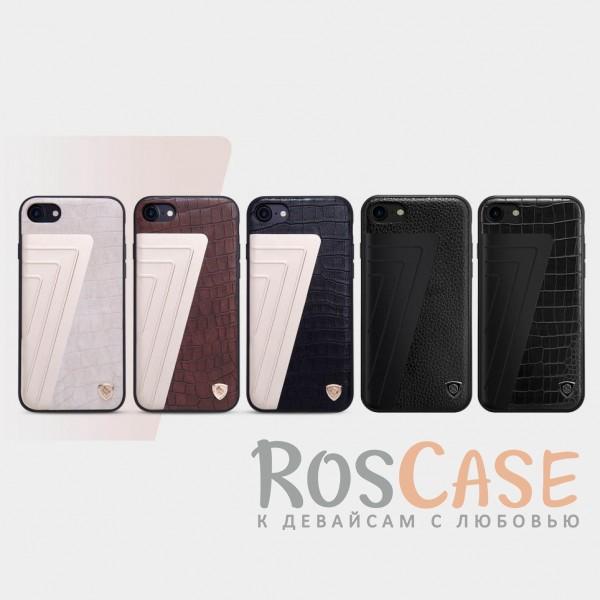 Кожаная накладка Nillkin Hybrid Series для Apple iPhone 7 (4.7)Описание:произведено брендом&amp;nbsp;Nillkin;совместимость - Apple iPhone 7 (4.7);материалы: поликарбонат, термополиуретан, металл, искусственная кожа;тип: накладка.&amp;nbsp;Особенности:оригинальный дизайн;вставка с фактурой крокодиловой кожи;двухцветный стиль;анти-отпечатки;не скользит в руках;защищает заднюю панель и боковые грани.<br><br>Тип: Чехол<br>Бренд: Nillkin<br>Материал: Искусственная кожа
