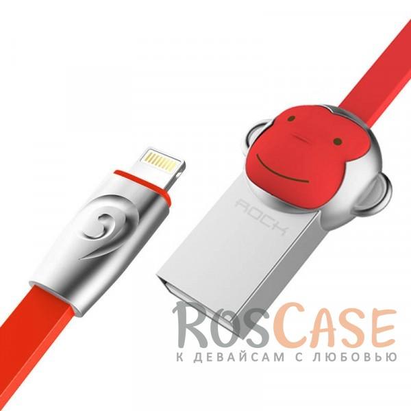 Фото Monkey-Red silver ROCK Chinese Zodiac | Кабель Lightning для Apple iPhone 5/5s/5c/SE/6/6 Plus/6s/6s Plus /7/7 Plus 1m
