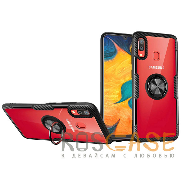 Фото Бесцветный / Черный TPU+PC чехол Deen CrystalRing под магнитный держатель для Samsung Galaxy A20 / A30