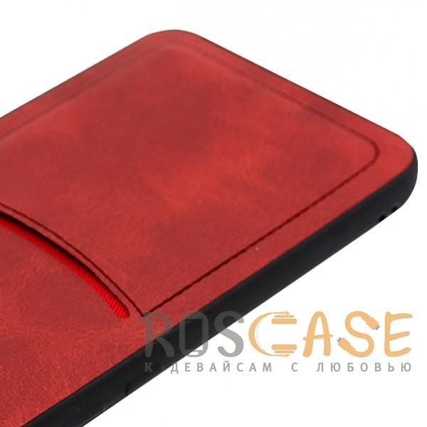 Фотография Красный ILEVEL | Чехол с кожаным покрытием и с карманом-визитницей для Huawei P20 Lite