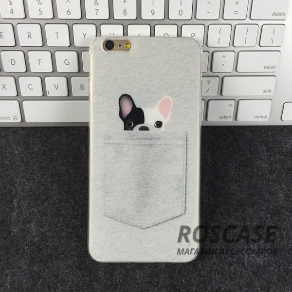 Тонкий силиконовый чехол с принтом Питомцы в кармане для Apple iPhone 6/6s (4.7) (Белый/Пес)Описание:совместимость: Apple iPhone 6/6s (4.7);форм-фактор: накладка;материал: силикон.Особенности:не деформируется;надежная фиксация;легко очищается;износостойкий;присутствуют все функциональные вырезы;устойчив к повреждениям;оригинальный дизайн.<br><br>Тип: Чехол<br>Бренд: Epik<br>Материал: TPU