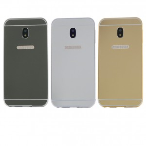 Металлический бампер для Samsung J730 Galaxy J7 (2017) с зеркальной вставкой