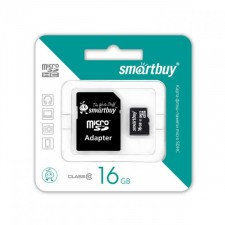 фото Черный (Черный) Карта памяти SmartBuy microSDHC 16 GB Card Class 10 + SD adapter для Samsung Galaxy S6 Edge (G925F)