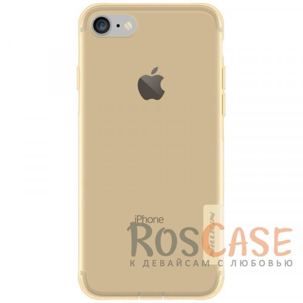 Мягкий прозрачный силиконовый чехол для Apple iPhone 7 / 8 (4.7) (Золотой (прозрачный))Описание:производитель  -  бренд&amp;nbsp;Nillkin;совместим с Apple iPhone 7 / 8 (4.7);материал  -  термополиуретан;тип  -  накладка.&amp;nbsp;Особенности:в наличии все вырезы;не скользит в руках;тонкий дизайн;заглушка на отверстие для зарядки.защита от ударов и царапин;прозрачный.<br><br>Тип: Чехол<br>Бренд: Nillkin<br>Материал: TPU