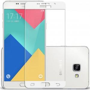 """Защитное стекло с цветной рамкой на весь экран с олеофобным покрытием """"анти-отпечатки""""  для Samsung Galaxy A7 2016 (A710F)"""