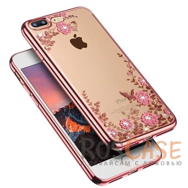 Прозрачный чехол с цветами и стразами для Apple iPhone 7 plus (5.5) с глянцевым бампером (Розовый золотой/Розовые цветы)Описание:совместим с Apple iPhone 7 plus (5.5);материал - термополиуретан;тип - накладка.&amp;nbsp;Особенности:прозрачный;изящный рисунок;украшен стразами;защищает от царапин и ударов;не скользит в руках.<br><br>Тип: Чехол<br>Бренд: Epik<br>Материал: TPU